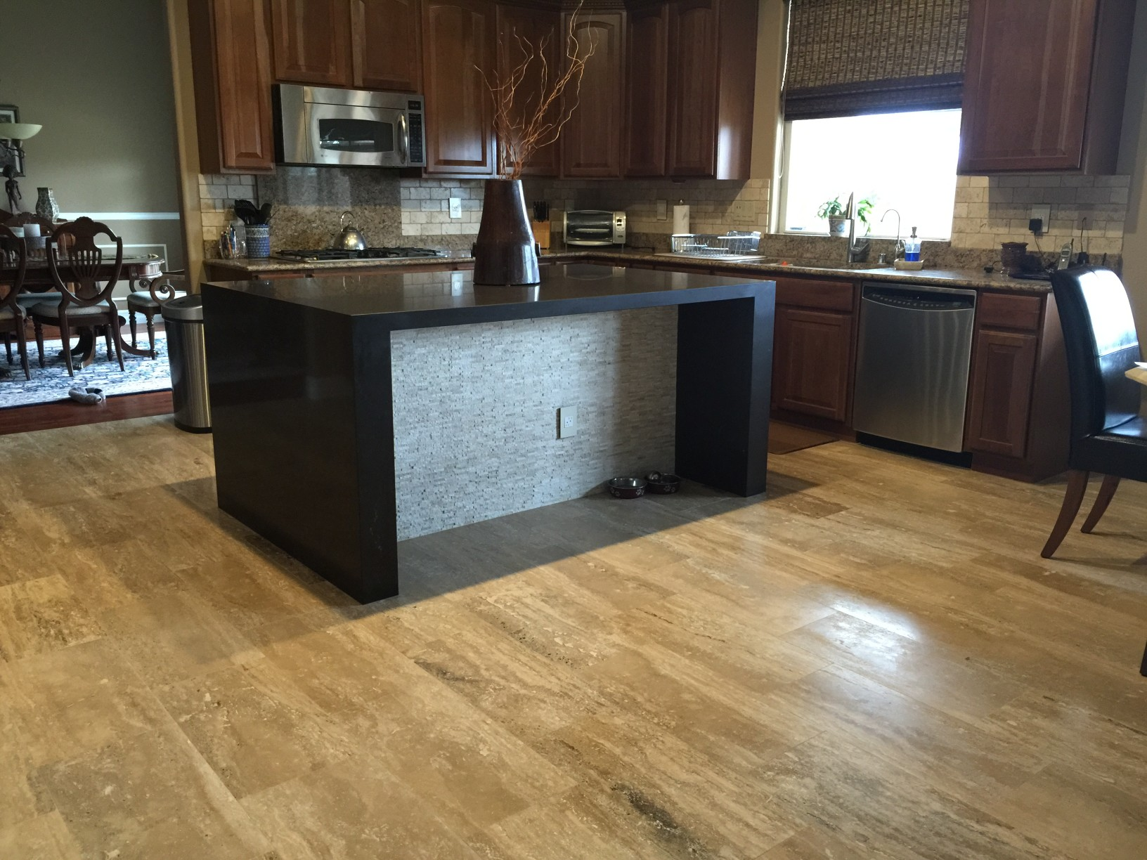 Waterfall Kitchen Island With New Flooring And Bathroom Remodel Fairless Homes Henderson Nv