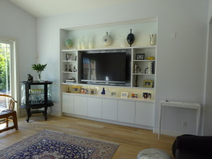 contemporary family room wall unit